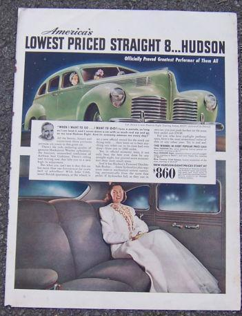 1940 HUDSON EIGHT AUTOMOBILE MAGAZINE ADVERTISEMENT, Advertisement