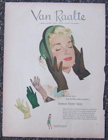 Image for 1940S VAN RAALTE HANDSEWN REINDOE GLOVES MAGAZINE ADVERTISEMENT