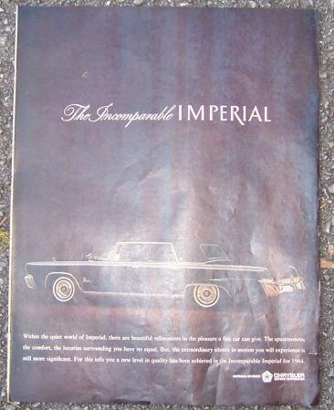 1964 CHRYSLER IMPERIAL AUTOMOBILE MAGAZINE ADVERTISEMENT, Advertisement