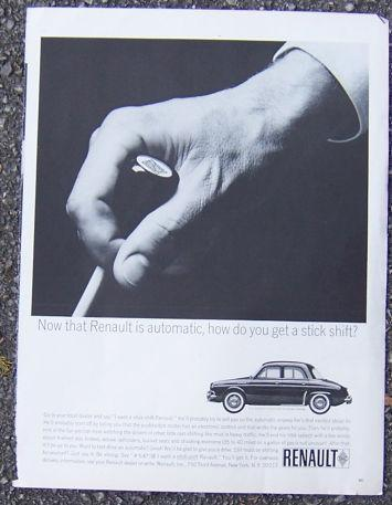 1963 RENAULT STICK SHIFT AUTOMOBILE MAGAZINE ADVERTISEMENT, Advertisement