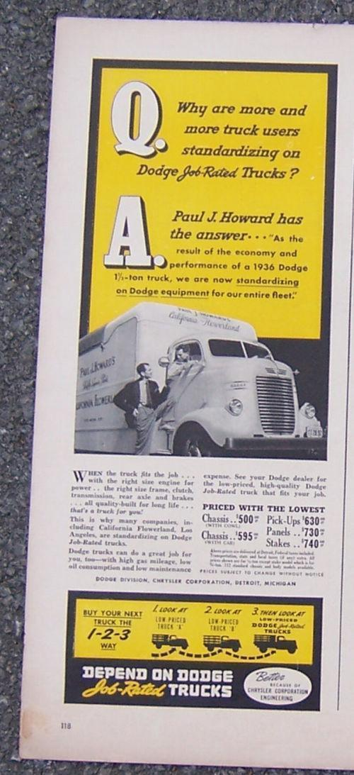 1941 DODGE JOB RELATED TRUCKS MAGAZINE ADVERTISMENT, Advertisement