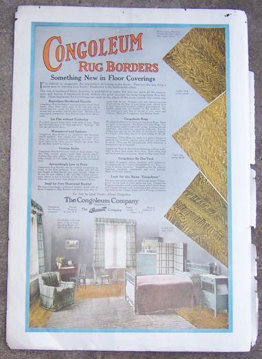 1916 LADIES HOME JOURNAL CONGOLEUM RUG BORDERS MAGAZINE COLOR ADVERTISEMENT, Advertisement