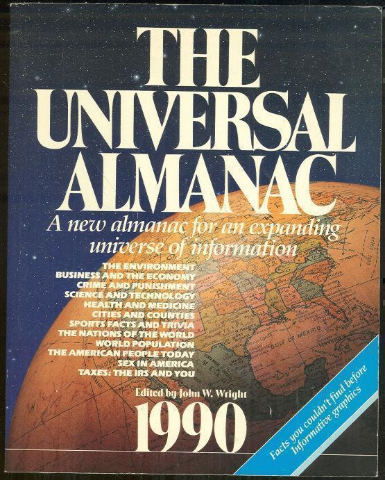 UNIVERSAL ALMANAC A New Almanac for an Expanding Universe of Information 1990, Wright, John editor
