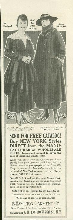 Image for 1916 LADIES HOME JOURNAL HAMILTON GARMENT CATALOG MAGAZINE ADVERTISEMENT