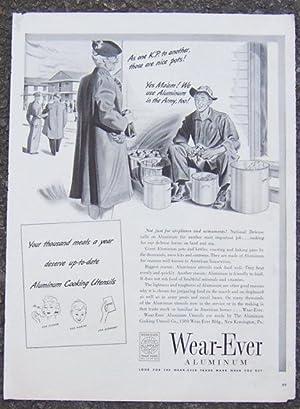 1941 WEAR-EVER ALUMINUM MAGAZINE WWII ADVERTISEMENT: Advertisement