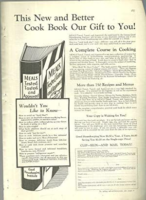 1932 GOOD HOUSEKEEPING MAGAZINE ADVERTISEMENT FOR MEALS: Advertisement