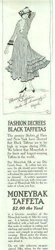 1916 LADIES HOME JOURNAL MONEYBAK BLACK TAFFETAS: Advertisement