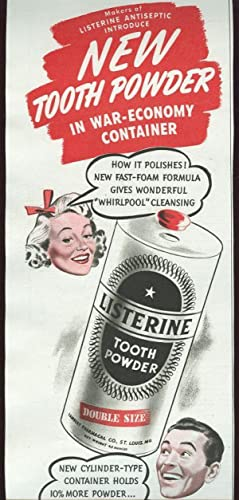 1943 MAGAZINE ADVERTISEMENT FOR LISTERINE TOOTH POWDER: Advertisement
