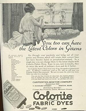 COLORITE FABRIC DYES 1921 LADIES HOME JOURNAL MAGAZINE ADVERTISEMENT: Advertisement