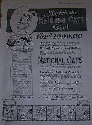 1916 LADIES HOME JOURNAL NATIONAL OATS MAGAZINE: Advertisement
