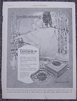 1921 LADIES HOME JOURNAL ADVERTISEMENT FOR TETLOW'S PUSSYWILLOW FACE POWDER: Advertisement