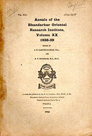 ANNALS OF THE BHANDARKAR ORIENTAL RESEARCH INSTITUTE