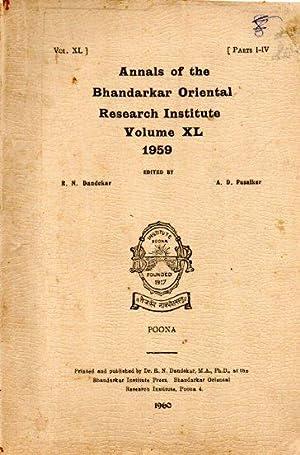 ANNALS OF THE BHANDARKAR ORIENTAL RESEARCH INSTITUTE VOLUME XL PART I-IV, (1959)