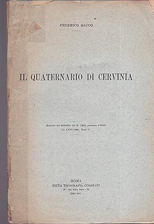 Il quaternario di Cervinia. Estratto dal Bollettino: Sacco Federico