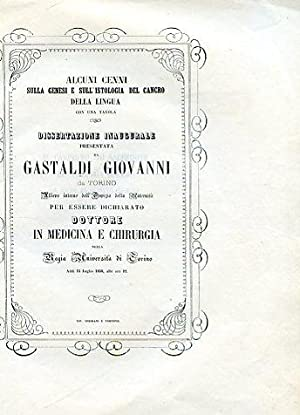 Alcuni cenni sulla genesi e sull'istologia del: Gastaldi Giovanni