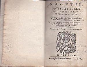 Facetie, Motti, et Burle, di diversi signori,: Domenichi Lodovico