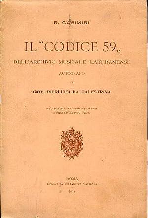 """Il """"Codice 59"""" dell'Archivio Musicale Lateranense autografo: Casimiri Raffaele"""