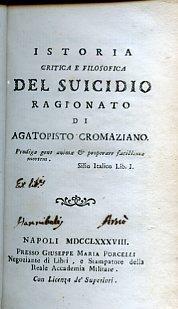 Istoria critica e filosofica del suicidio ragionato: Buonafede Appiano (Agatopisto