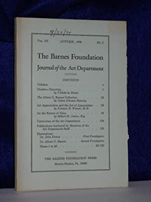 Journal of the Art Department, Vol. III Autumn 1972, No. 2: The Barnes Foundation