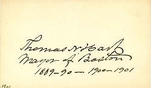 Small card signed by Thomas N. Hart.: Hart, Thomas N.