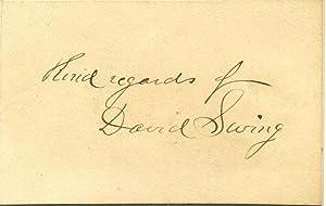 Small card signed by David Swing.: Swing, David