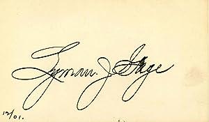 Small card signed by Lyman J. Gage.: Gage, Lyman J.