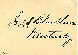 Small card signed by Joseph C. S. Blackburn.: Blackburn, Joseph C. S.