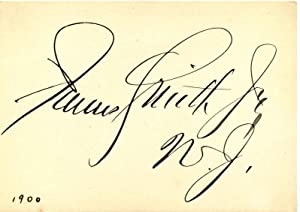 Small card signed by James Smith, Jr.: Smith, James, Jr.
