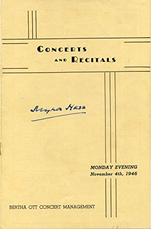 Concert Program Signed by Dame Myra Hess.: Hess, Myra (1890-1965)