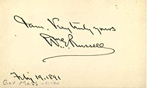 Small Card Signed by William E. Russell.: Russell, William Eustis