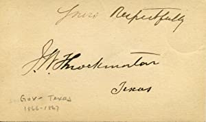 Small card signed by James Webb Throckmorton (1825-1894).: Throckmorton, James Webb