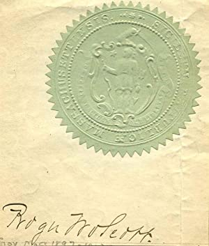 Massachusetts State Seal autographed by Roger Wolcott (1847-1900).: Wolcott, Roger