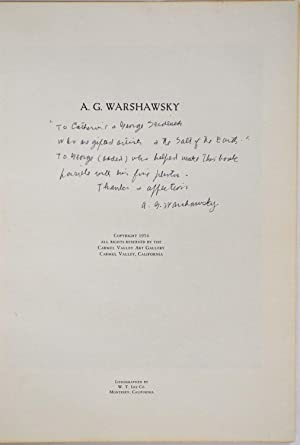 ABEL G. WARSHAWSKY. Master Painter and Humanist. Signed by A. G. Warshawsky.: Warshawsky, Abel G.; ...