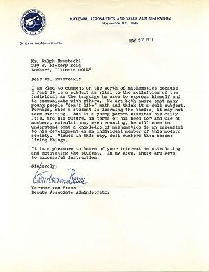 Typed letter signed by rocket scientist Wernher: von Braun, Wernher