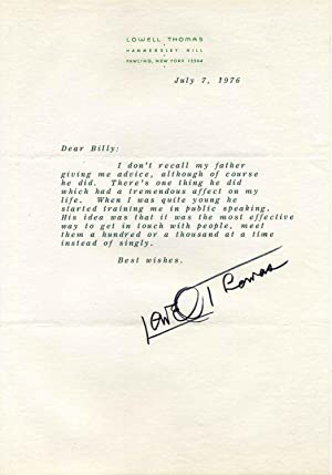 Letter typed and signed by Lowell Thomas.: Thomas, Lowell