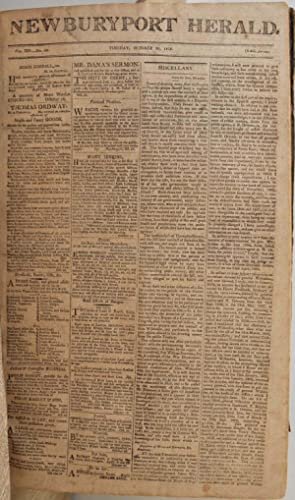 NEWBURYPORT HERALD. Bound volume: Vol. XIV No. 1-No. 103. April 6, 1810 through March 29, 1811.: ...