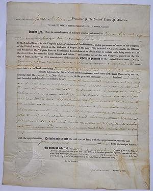 1811 Land Grant signed by James Madison: Madison, James; James