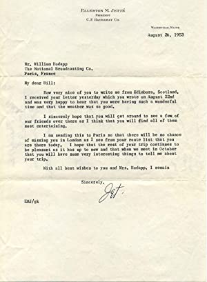 TYPED LETTER Signed by Ellerton M. Jette, President of C. F. Hathaway Co.: Jette, Ellerton M.