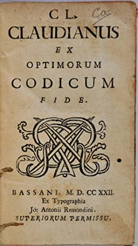 CL CLAUDIANUS EX OPTIMORUM CODICUM FIDE. Thomas Jefferson Hogg's copy, signed by him on the ...