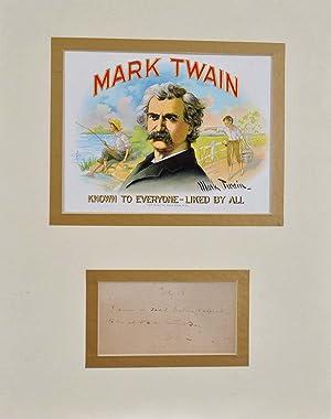 Postcard handwritten and intitialed by Samuel Langhorne: Twain, Mark; Samuel