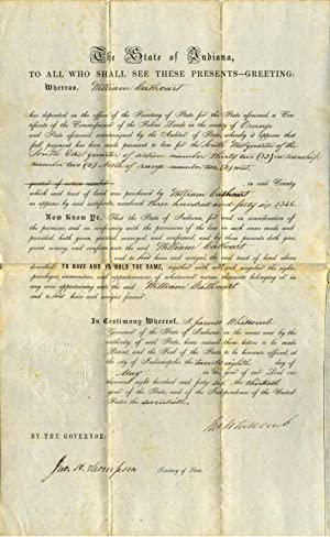 Partly printed document signed by James Whitcomb (1795 - 1852).: Whitcomb, James