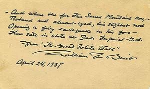 Poem handwritten and signed by William Rose Benet.: Benet, William Rose