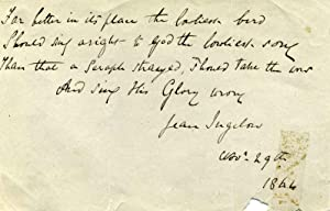 Autograph Quotation Signed: Ingelow, Jean (1820