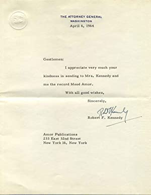 Typed Letter Signed: Kennedy, Robert F. (1925-1968)