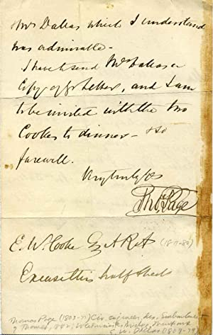 Autograph Letter Signed: Page, Thomas (1803-1877)