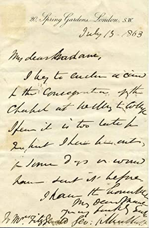 Letter handwritten and signed by architect George Gilbert Scott (1811-1878).: Scott, George Gilbert