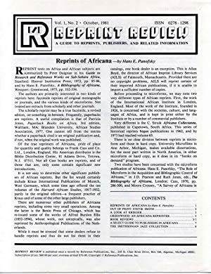 REPRINT REVIEW. A guide to reprints, publishers and related information.