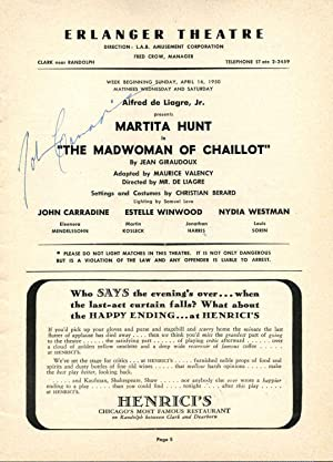 Erlanger Theatre Program for The Madwoman of Chaillot signed by John Carradine.: Carradine, John