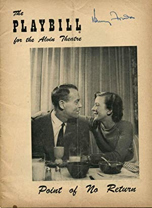 Theater Program Signed by Henry Fonda (1905-1982); Alvin Theatre Playbill; Point of No Return.: ...