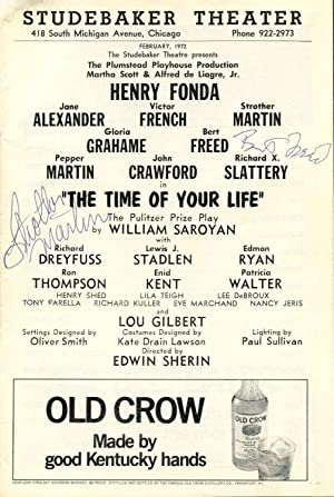 Signed Studebaker Theatre Stagebill (Program); The Time of Your Life.: Martin, Strother; Bert Freed